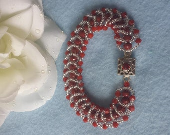 Red and silver  (fire and ice) Masterpiece  handmade bracelet  FREE SHIPPING!