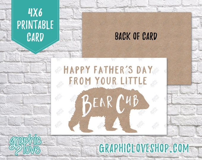 Featured listing image: Printable 4x6 Father's Day Card From Bear Cub - Folded or Postcard | Digital JPG Files, Instant Download, NOT Editable, Ready to Print