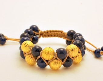 Free Shipping/Blue and Gold Bracelet/Special Purchase/Macrame jewelry/Blue bracelet/Navy/Handmade bracelet/Blue and Gold Bracelet/Macrame