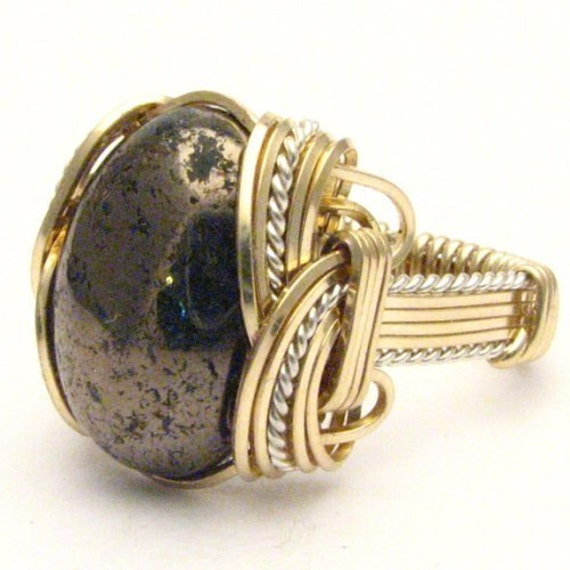 Handmade Wire Wrap Two Tone Sterling Silver/14kt Gold Filled Pyrite Cab Ring