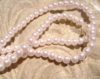 Pearlescent Glass Pearl Pearls Beads Pink 4mm Round LARGE 30mm Strand