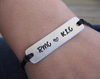 Personalized Couples Bracelet - Couples bracelet - his her bracelet - handstamped bracelet - cord bracelet - name bracelet - saying bracelet