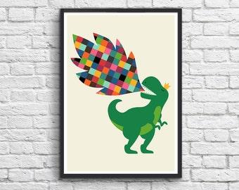 Art-Poster 50 x 70 cm for kids  - Baby Tyranosaur