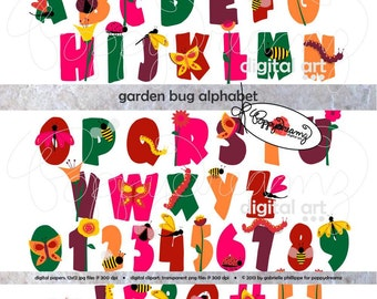Garden Bug Alphabet: Clip Art Pack (300 dpi png) Digital Butterfly Dragonfly Bumblebee Lady Bug Letters Numbers Flower Alphabet Clipart