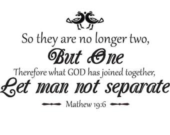 Christian Marriage Wall Decal   Matthew 19:6