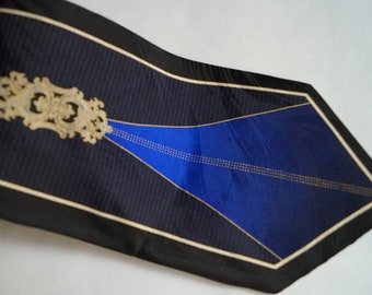 Vintage Gasparo Silk Tie Royal blue black gold Imported fabric Made in USA Authentic