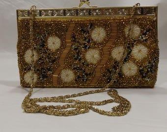 Vintage Gold Embroidered Metal Frame Evening Bag