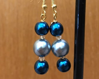 Blue and Silver Beaded Drop Earrings, Blue Silver Beaded Earrings, Blue Silver Drop Earrings, Blue Silver Earrings, Silver Blue Earrings
