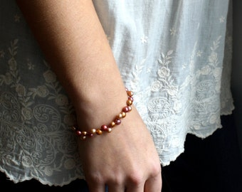 Multicolor Pearl Bracelet Beaded . Simple Pearl Bracelet . Autumn Jewelry . Copper Pearl Bracelet