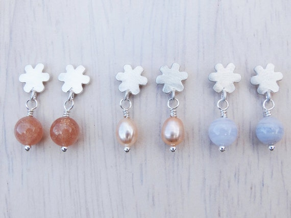 Silver Flower Stud Earrings & Gemstones - Sterling Silver
