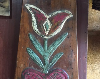 Great Large Tulip Heart Folk Art