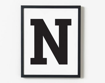 Personalised Child's Initial Printable, Personalised Nursery Print, Typography Art, Playroom, Wall Art Nursery, Kids Decor