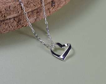 Sterling Silver, love heart ribbon necklace, everyday wear