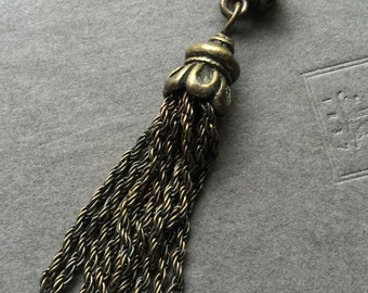 Antique Brass Chain Tassel - Bronze Tassel - Bali Style Chain Tassel - Metal Tassel - Long Chain tassel