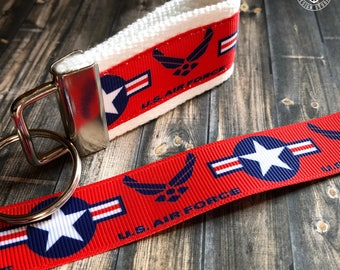 Air Force key fob, Graduation gifts, custom key fob, military gifts, keychain, gifts for Airmen, wristlet, deployment gift, key chain