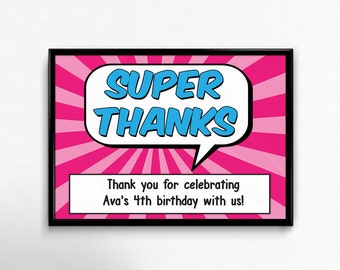 Superhero Girl Party Signs - 4 Personalized Party Signs. Custom Signs for Superhero Birthday Party. Superhero Party Decor.