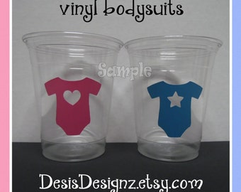 24 Gender reveal Bodysuit vinyl decals 12 oz. 16 oz or 20 oz. clear party cups Baby shower decorations girl boy sprinkle party vinyl