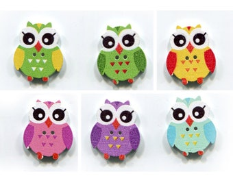 set buttons owls 2.5 cm choice of color, wood