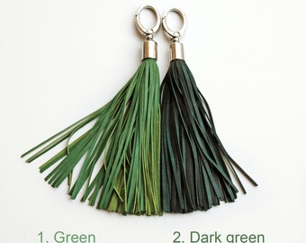 Leather Tassel keychain, Green or Dark green long tassel