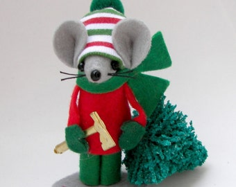 Christmas Ornament Tree Chopper Felt Mouse Red Green Christmas Ornament by Warmth