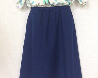 Vintage Wrap Skirt Plus Size Navy Blue Fitted Waist 80s Knee Length Skirt XL Women Bottoms Two Pockets Button Classic Style