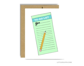 To do list you - naughty funny valentines day greeting card vday love anniversary green blue pencil wife husband boyfriend girlfriend