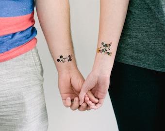 2 Mickey and Minnie Temporary Tattoos- GeekTat