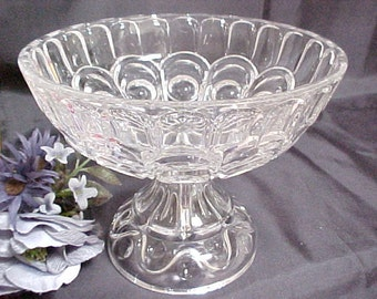 "Vintage Crystal Glassware Footed Fruit Bowl or Compote With Great "" Ring "" , Pressed Glass Serving Bowl, Collectible Fruit Bowl Home Decor"