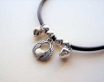 Ankle Bracelet, Heart Wing With Bells, Leather Anklet by Ankletgypsy
