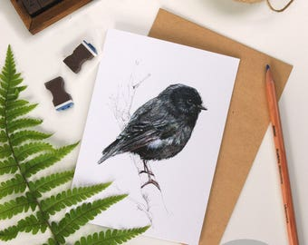 Black Robin, folded card from the New Zealand native birds series by Emilie Geant, from original watercolor painting