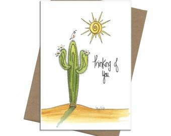 Southwest Saguaro Cactus   Thinking of You Card
