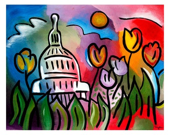 Capitol Bloom - 11x14 matted print by Joel Traylor