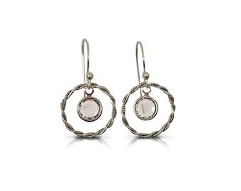 Sterling Silver Hoop Earrings, Crystal Earrings, Dangle Drop Earrings, Silver Jewelry, Gifts, Gift for Her, Dainty Jewelry, Birthday Gift