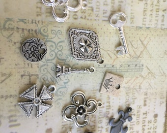 Assortment of French Inspired Charms Set of 11, Made in USA, Fleur de lis, Regal Crown, Fleur de lis charms, Florals