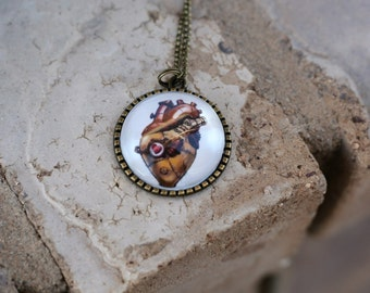 Anatomical Steampunk Heart Pendant Necklace