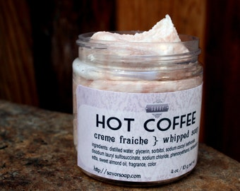 Soap Hot Coffee 4 oz Creme Fraiche Whipped Soap VEGAN Savor