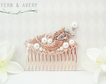 Rose gold mermaid hair comb. White or ivory pearls, Rosegold bridal hair clip.