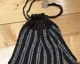 Vintage Brown Beaded Drawstring Bag Purse with Cut Glass Beads