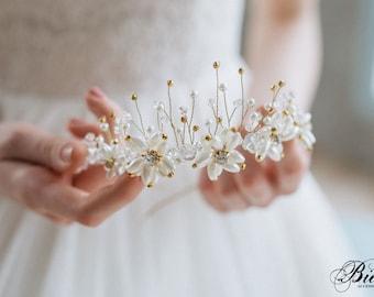 Bridal Crown, Wedding Diadem, Bohemian Hairpiece, Crystal Bridal Tiara, Wedding Pearl  Headband, Pearl Headband, Wedding Tiara- ELYSIA