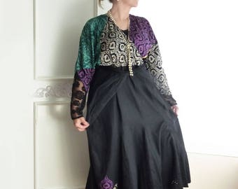 Baroque Renaissance dress, size 16, vintage Carole Little, gypsy, black, midi, maxi, linen, ooak, purple, teal, gothic, dolman sleeve, boho