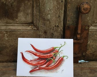 Red Chilli Pepper Greetings Cards