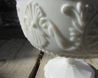 Vintage Milk Glass Candy Dish or Fruit Bowl