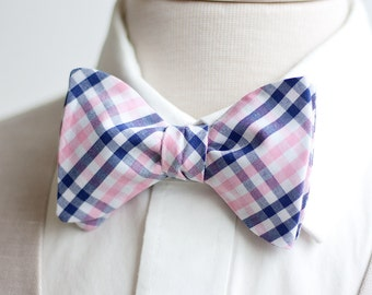 Bow Ties, Bow Tie, Bowties, Mens Bow Ties, Freestyle Bow Ties, Self-Tie Bow Ties, Groomsmen Bow Ties, Plaid Bow Ties - Navy And Pink Plaid