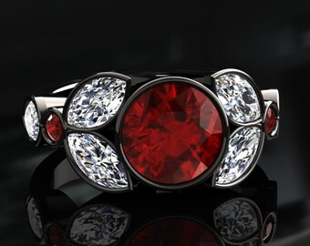 Ruby Engagement Ring 1.50 Carat Ruby And Moissanite Ring 14k or 18k Black Gold. Style Number W16RUBYBK