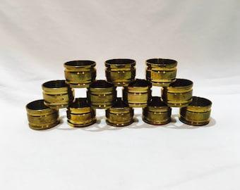 Set of 12 Vintage Brass Napkin Holders, Brass napkin rings, Napkin rings, Napkin holders, Vintage napkin rings, Brass rings