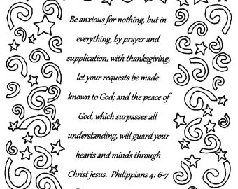 Be anxious for nothing...Philippians 4:6-7 Bible verse coloring page