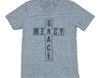 Grace & Mercy > Cross shirt > Christian Shirt > Men > Women > Grace Shirt > Mercy Shirt > Gray > Cross