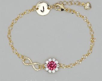 Infinity Bracelet, Ruby Crystal Bracelet, Personalized Bridesmaid Jewelry, Gold Initial Bracelet, Personalized Bracelets Bridesmaids Gift