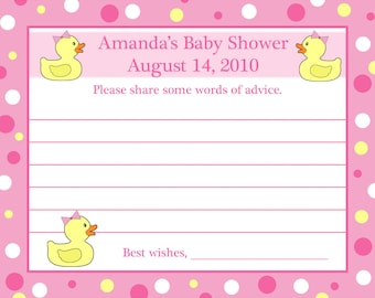 24 Personalized Baby Shower Advice Cards   RUBBER DUCKY PINK