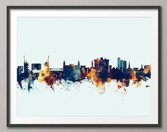 Fayetteville Skyline, Fayetteville Arkansas Cityscape Art Print (2800)